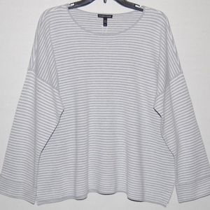 New Eileen Fisher striped relaxed fit box top